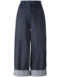 Donna Karan - Rear Print Cropped Jeans - Lyst