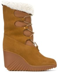 Chloé - 'foster' Wedge Boots - Women - Leather/suede/lamb Fur/rubber - 39.5 - Multicolor