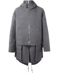 Juun.J Layered Oversized Coat - Gray