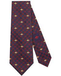 Gucci - Corbata de Seda con GG y Abejas - Lyst