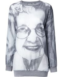 Bless Printed Long Sweatshirt - Gray