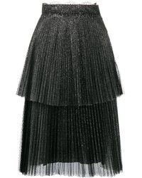 Christopher Kane Falda plisada con purpurina - Negro