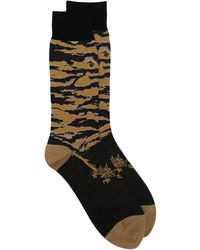 Maharishi Tiger-print Knitted Socks - Black