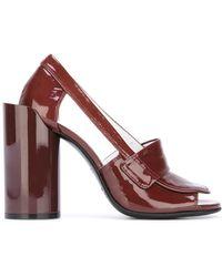Maison Margiela Peep Toe Loafer Sandals - Purple