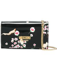 Moschino Burned Effect Floral Chain Wallet - Black