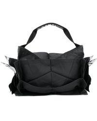 132 5. Issey Miyake Structured Metallic Detail Tote Bag - Black