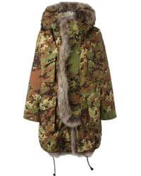 DSquared² Fur Trim Camouflage Parka - Green