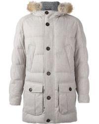 Brunello Cucinelli Zipped Hooded Coat - Grey