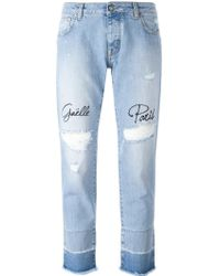 Gaëlle Bonheur - Distressed Embroidered Jeans - Lyst