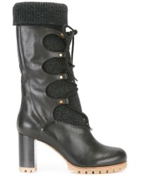 Chloé Foster Leather Mid-Calf Boots - Black
