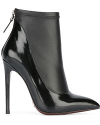 Gianni Renzi - Contrast Pointed Ankle Boots - Women - Leather/patent Leather - 39 - Black