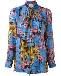 Gucci Bengal Print Blouse - Blue