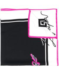 Karl Lagerfeld K/signature Orchid Print Scarf - Black