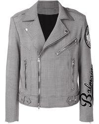 Balmain Houndstooth Check Biker Jacket - Zwart