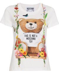 Moschino Floral Teddy Motif T-shirt - White