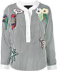 Michaela Buerger Embellished Striped Blouse - Black