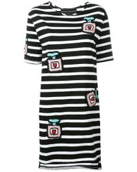 Michaela Buerger Knitted Patches Striped Dress - Black