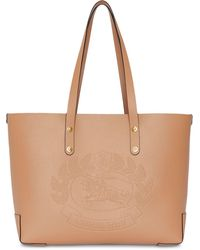 Burberry - Small Embossed Crest Leather Tote - Lyst