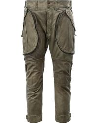 Faith Connexion Cropped Leather Trousers - Green
