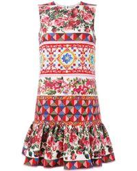 Dolce & Gabbana - Mambo Print Peplum Dress - Lyst
