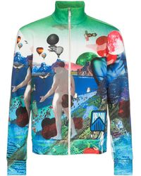 Prada Bomberjack Met Flashback Print - Blauw