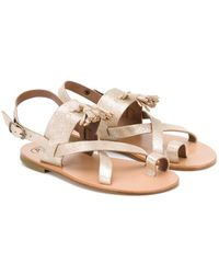 Pepe Jeans - 'salvador Oro' Glitter Sandals - Lyst
