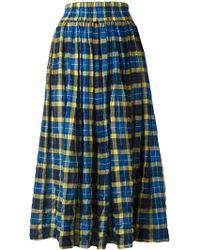Aspesi - Elasticated Waist Checked Skirt - Lyst