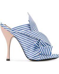 N°21 Striped Bow Mules - White