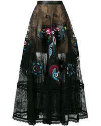 Elie Saab - Satin-panelled Lace Skirt - Lyst