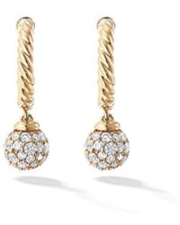 David Yurman 18kt Yellow Gold Solari Diamond Hoops - Металлик
