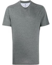 Brunello Cucinelli Футболка Свободного Кроя С V-образным Вырезом - Серый