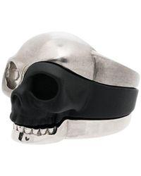Alexander McQueen Set de trois bagues têtes de mort - Noir