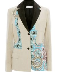 JW Anderson Mystic Paisley Patchwork Tailored Blazer With Crystal Embroidery - マルチカラー