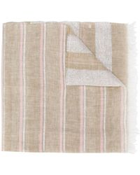 Fabiana Filippi Metallic-striped Large Scarf - Natural