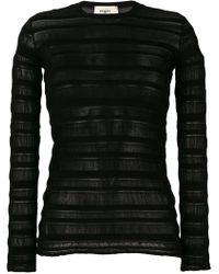 Ports 1961 Sheer Panel Sweater - Black