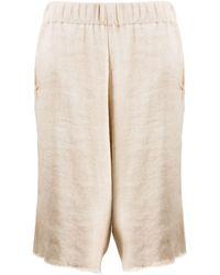 Avant Toi Oversized Knee-length Shorts - Natural