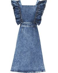 Miu Miu Vestido vaquero con mangas con volantes - Azul