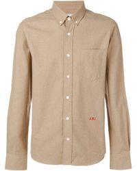 AMI Slim Fit Button-down Shirt A.m.i Front Embroidery - マルチカラー