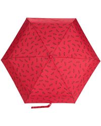 Moschino Paraguas con logo estampado - Rojo