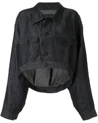 Yohji Yamamoto クロップド ライトジャケット - ブルー