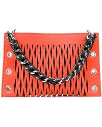 Sonia Rykiel Furry Trim Clutch Bag in Black - Lyst f56892796e19b