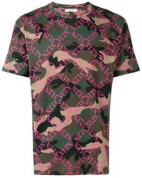 Valentino - Camouflage Logo Grid Print T-shirt - Lyst