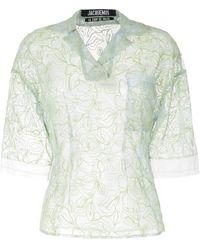 Jacquemus Прозрачная Блузка С Цветочной Вышивкой - Синий