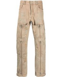 Givenchy Distressed-finish Straight-leg Denim Jeans - Natural