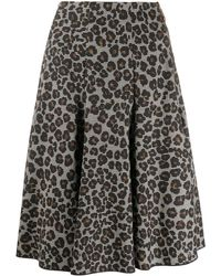 Versace Юбка С Леопардовым Принтом И Складками - Черный