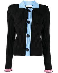 Toga Color-block Ribbed-knit Cardigan - Black