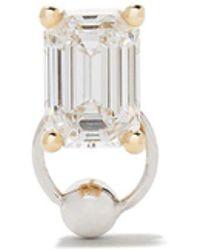 Delfina Delettrez Pendiente Piercing Stud en oro amarillo y blanco de 18kt con diamantes hechos por el hombre - Metálico