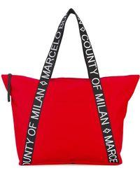 Marcelo Burlon Branded Strap Tote - Red