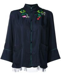 MUVEIL Embroidered Jacket - Blue