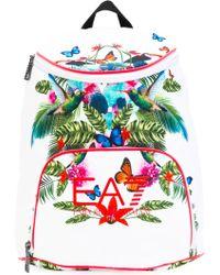 EA7 - Tropical Print Backpack - Lyst